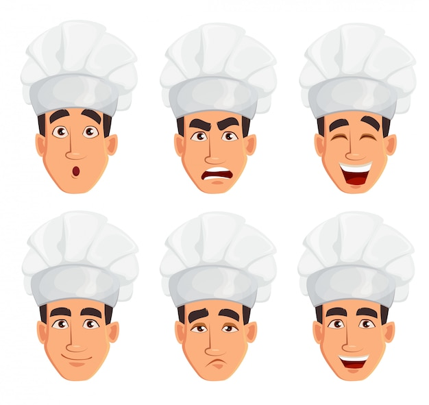 Face expressions of young professional chef man