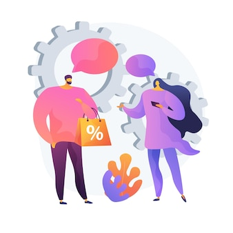 Face to face selling method. personalized shopping, sales assistant and buyer cooperation, sales promotion. personalized marketing strategy. vector isolated concept metaphor illustration