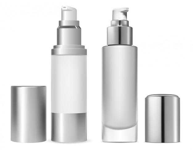 顔ファンデーション化粧品ボトル。血清トナーベース
