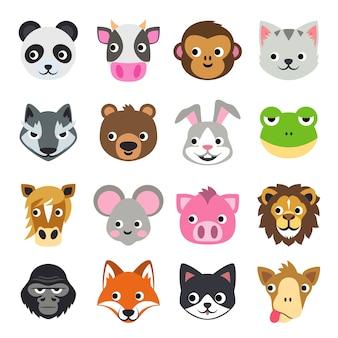Face funny animal cartoon векторная иллюстрация icon set