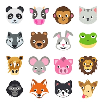 Face funny animal cartoon vector illustration icon set