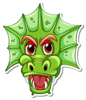 Face of green dragon cartoon character sticker