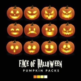 Face of halloween pumpkin packs