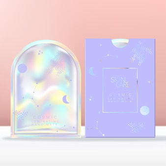 Face, hand or foot mask with holographic pouch, sachet or packet packaging. paper sleeve with holographic foiling.