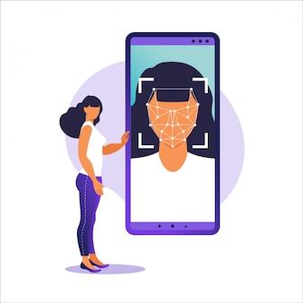 顔id、顔認識システム。スマートフォンでスキャンする顔の生体認証システム。顔認識システムのコンセプト。顔認識のためのモバイルアプリ。図