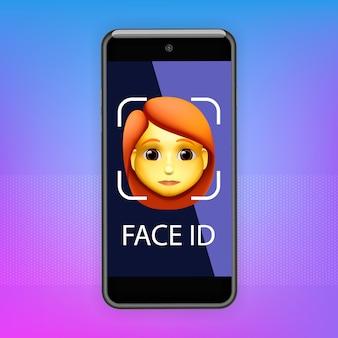 Концепция распознавания лиц. face id, система распознавания лиц. смартфон с человеческой головой и приложение для сканирования на экране. современное приложение.