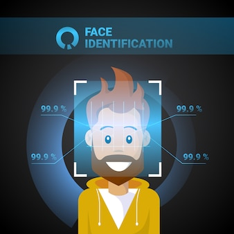 Face identification male scanning modern access control technology biometrical recognition system concept
