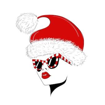 Лицо в очках и шляпе рождества
