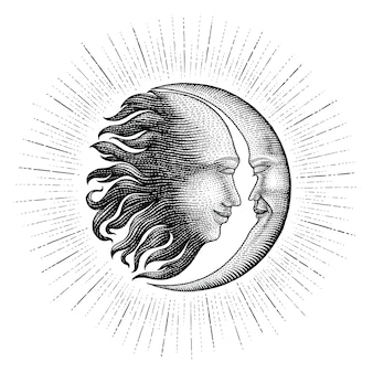 Лицо в солнце и луна рука рисунок старинные гравюры деньги линии стиль детали для татуировки