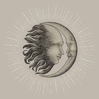 太陽と月の手描きの顔のタトゥーのヴィンテージの彫刻お金ライン詳細スタイルを描画