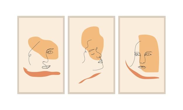 壁の装飾、ポスター、パンフレットなどのフェイスラインアート抽象ミニマリスト