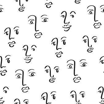 Лицо линии искусства бесшовные абстрактные каракули глаза нос губы простой дизайн с рисованными лицами