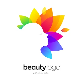 Face logo with colorful leaves