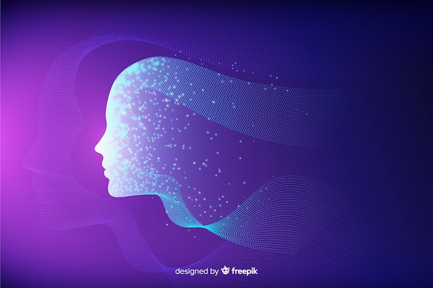 Face made of particles background