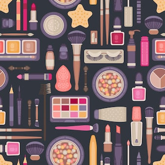 Face make up tools seamless pattern. decorative cosmetics items collection