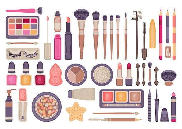 얼굴 메이크업 도구 세트. 브러시와 장식 화장품 항목 컬렉션