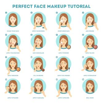 Face makeup tutorial for woman.