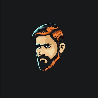 Face man hair color logo ilustration