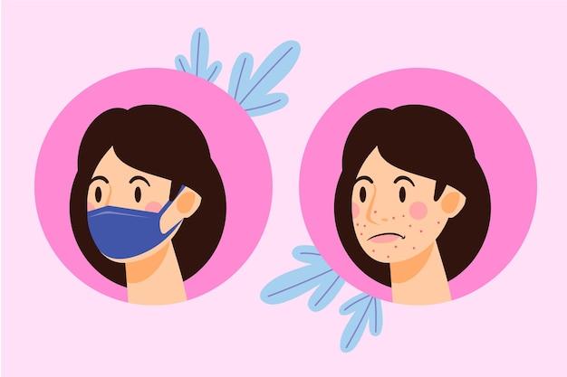 Donna che ha problemi con l'acne causata dalla maschera per il viso |  Vettore Gratis