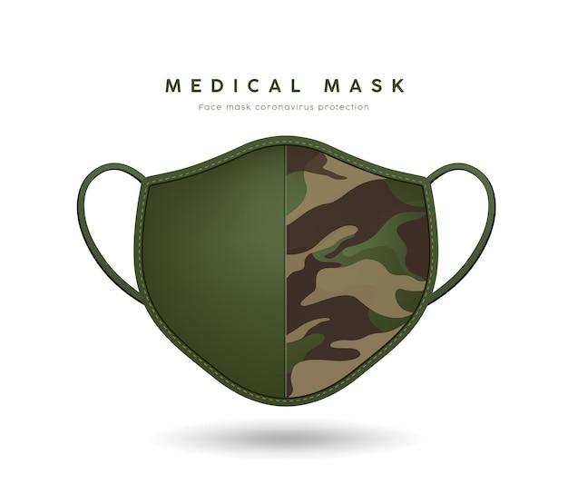 Лицевая маска ткань узор солдат зеленого цвета.