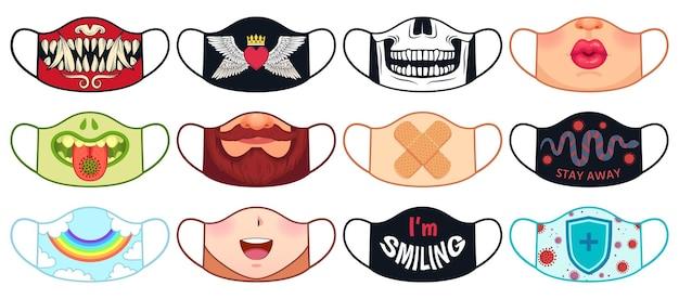 フェイスマスクのデザイン。頭蓋骨、悪魔、女性の唇とあごひげ、ヘビとウイルスを含む再利用可能な保護マスクのプリント。 covidコンセプトベクトルセット。虹、ハートで口を覆う