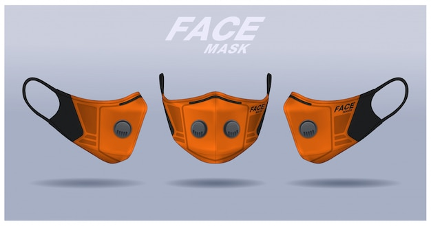 Face mask design template, dust protection & breathing medical respiratory.