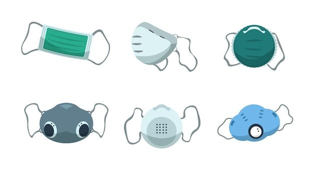 마스크. 안전한 호흡, 대기 오염 및 바이러스 확산 측정을 위한 일회용 의료 보호. 산업 먼지 보호 설정 벡터 만화 호흡기 마스크