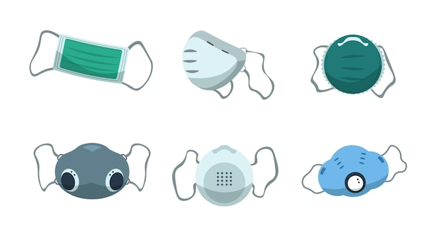 Face mask. disposable medical protection for safety breathing, air pollution and virus spreading measurement. vector cartoon respiratory masks set for industry dust protect
