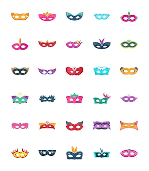 Face mask flat vector icons