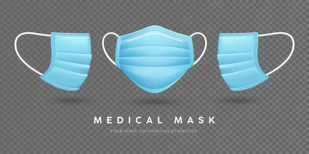 얼굴 마스크 의료, 파란색 템플릿 전면 및 측면
