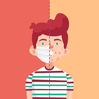 Иллюстрация включения и выключения маски для лица