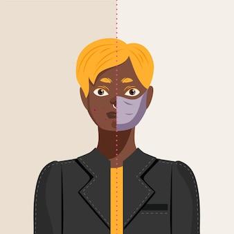 フェイスマスクのオンとオフの図