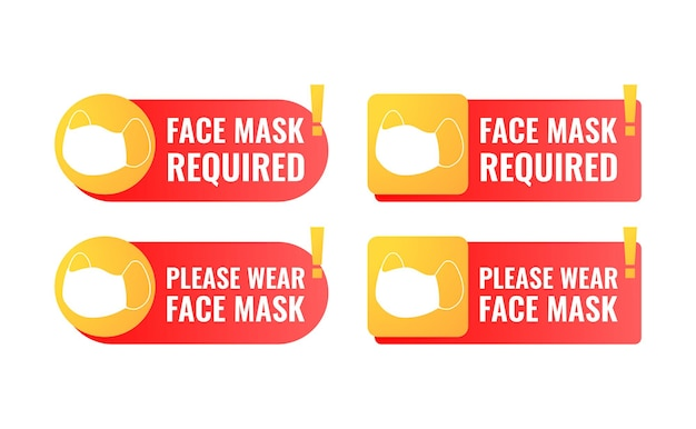 Face mask required sign with rounded rectangle shape and exclamation mark