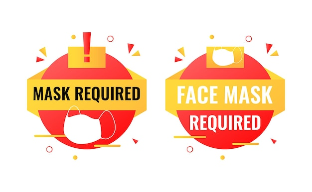 Face mask required sign with rounded shape and exclamation mark