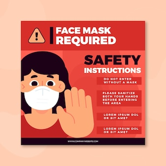 Face mask required square flyer template