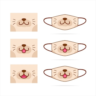 Face mask  set with cute brown cat dog pet animal mouth face  illustration