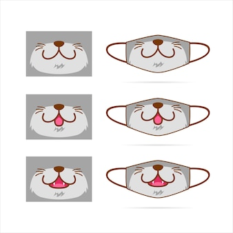 Face mask  set with cute gray cat dog wolf pet animal mouth face  illustration