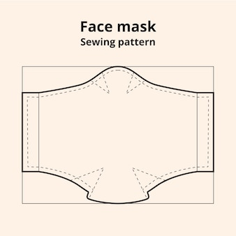 Face mask sewing pattern front view