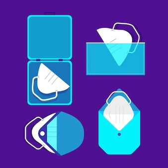 Face mask storage case collection in flat design