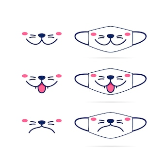 Face mask  with cute cat dog pet animal mouth face  illustration