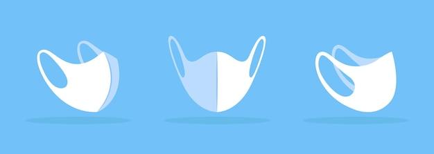 중간 흰색 모형에 솔기가 있는 얼굴 마스크. 바이러스 통과 예방. 코와 턱을 수용합니다. 필터 포켓이 없습니다. 현대 항목 클립 아트. 파란색 배경에 고립 된 디자인 서식 파일