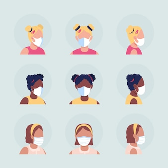 Face masks for children semi flat color vector character avatar set. portrait with respirator from front and side view. isolated modern cartoon style illustration for graphic design and animation pack
