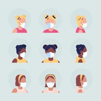어린이 세미 플랫 컬러 벡터 캐릭터 아바타 세트를 위한 얼굴 마스크. 전면 및 측면 보기에서 인공 호흡기와 초상화입니다. 그래픽 디자인 및 애니메이션 팩을 위한 격리된 현대 만화 스타일 그림