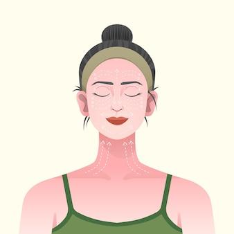 Иллюстрация техники массажа лица с женщиной