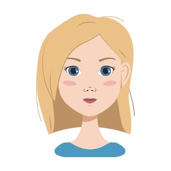금발 머리 파란 눈과 단발 머리를 가진 여자의 얼굴 다른 감정 행복 슬픈 놀란 j ...