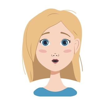 금발 머리, 파란 눈, 단발머리를 한 여성의 얼굴. 다른 감정, 행복, 슬픔, 놀라움, 기쁨, 괴로움, 화난 표정. 평면 벡터 아트에서 패션 아바타