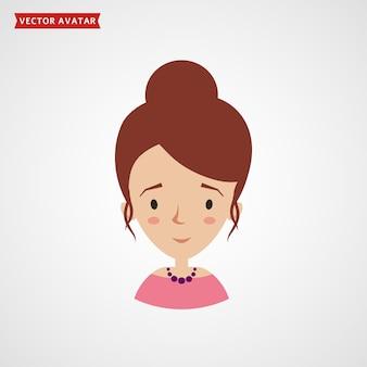 흰색 배경에 격리된 우아한 헤어스타일을 한 젊은 여성의 얼굴.