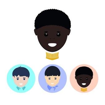 아프리카계 미국인 소년의 얼굴입니다. 세 개의 둥근 다채로운 아이콘 세트, 유럽 소년의 얼굴, 아시아 소년의 얼굴, 아프리카계 미국인 소년의 얼굴, 벡터 일러스트레이션