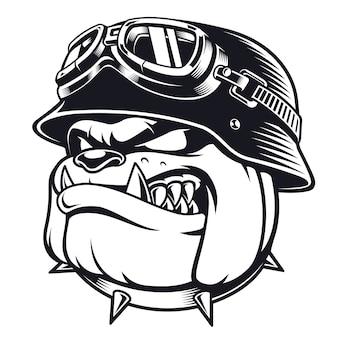 Лицо байкера бульдога в шлеме. иллюстрация всадника мотоцикла. футболка графика. на белом фоне.