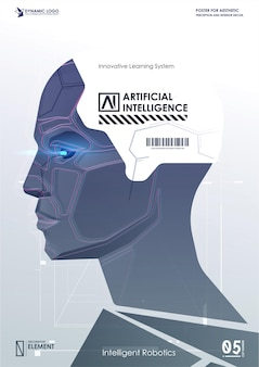 サイバーマインドの顔。技術の背景の概念。人工知能とビッグデータ、モノのインターネットの概念。 ai。